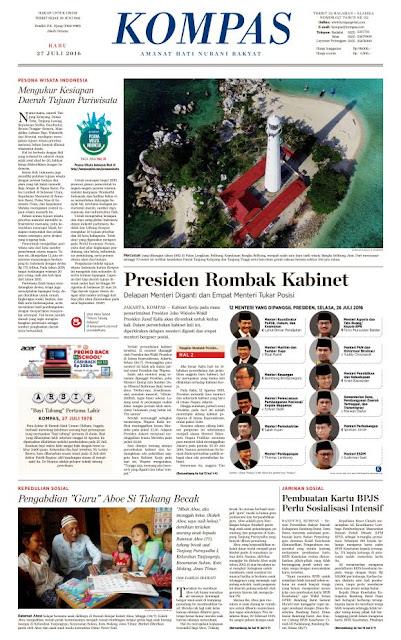 Kompas Edisi Rabu 27 Juli 2016