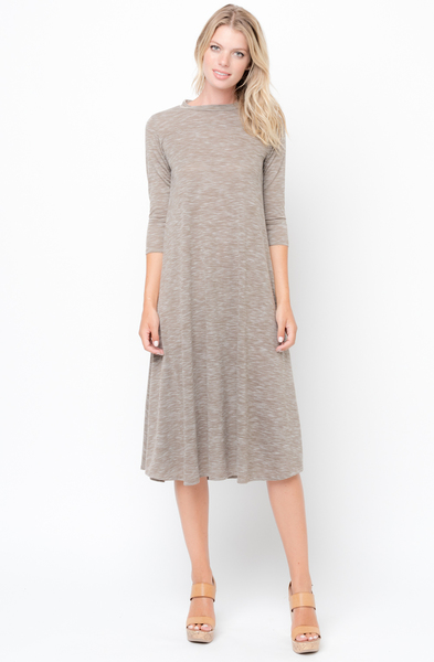 Shop for Mocha Swing Midi Dress 3/4 Sleeves Crew Neck Online on Caralase.com