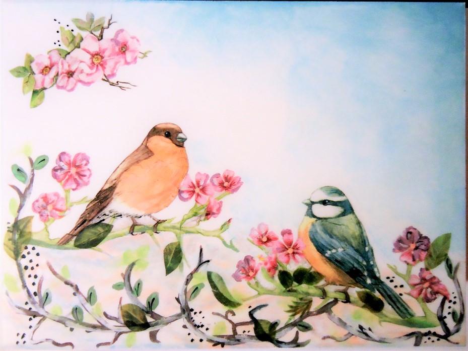 drewniana skrzynka, malowana skrzynka, ombre, kasetka na drobiazgi z ptaszkami
