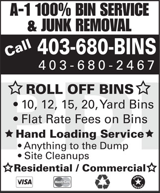 680BINS bin service and junk removal Call 403-680-2467