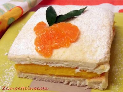 Torta di mandarini con crema pasticcera ai mandarini con pan di spagna di albumi