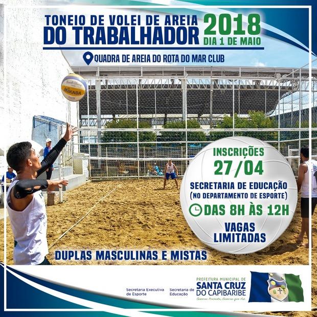 Torneio de Vôlei de Areia do Trabalhador 2018 movimenta desportistas em Santa Cruz do Capibaribe