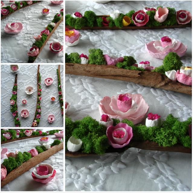 centrotavola con licheni e fiori di carta per Matrimoni, eventi. Eco Design Roma, Lazio