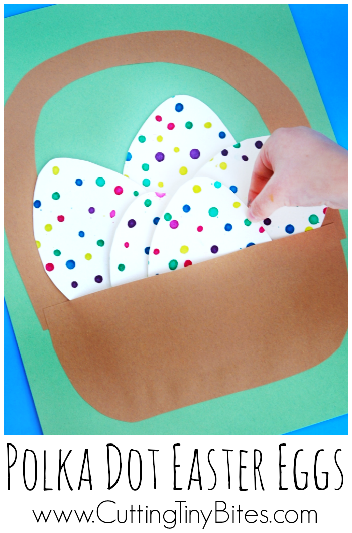 Fine motor kids craft for Easter. Cute eyedropper eggs in a little paper basket. Good activity for toddlers or preschoolers.