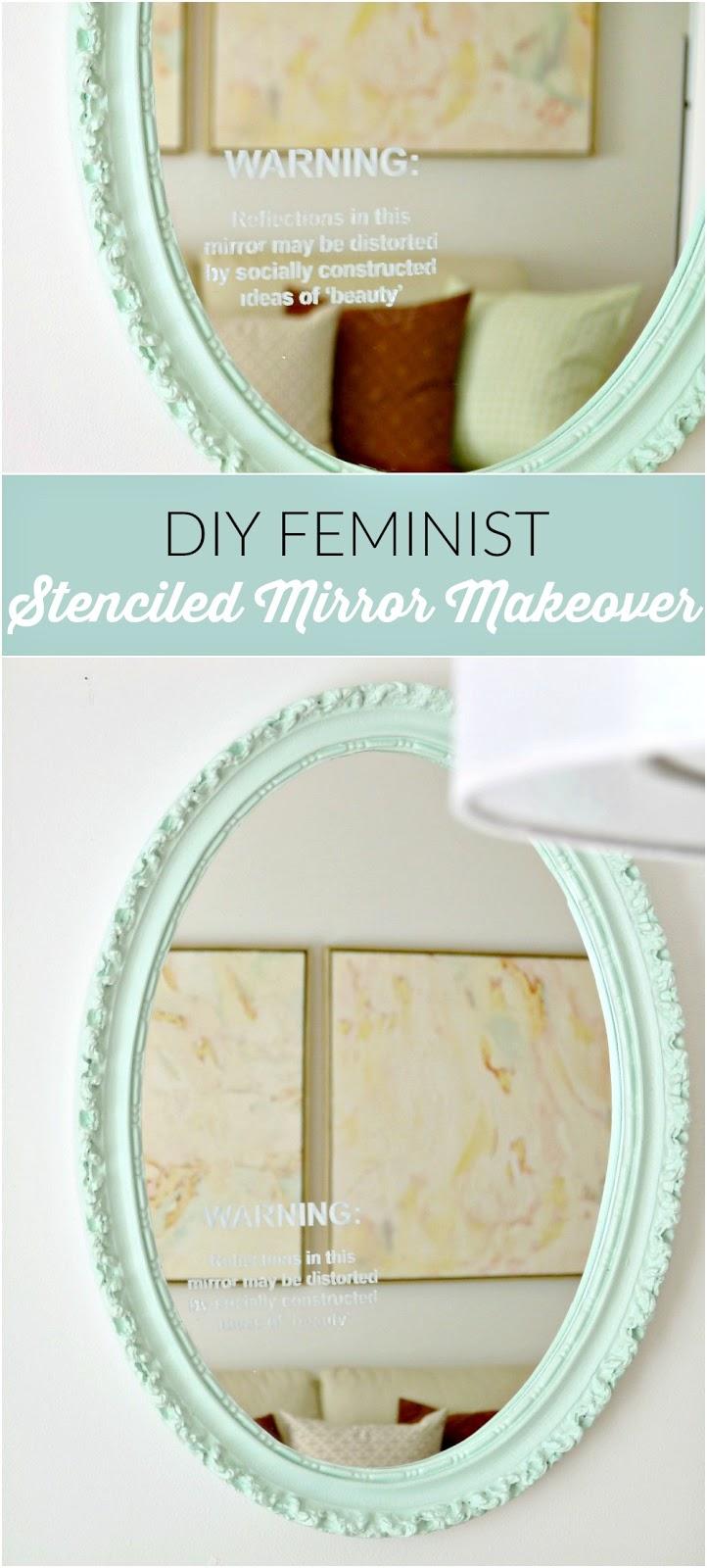 Feminist craftivism stenciled mirror