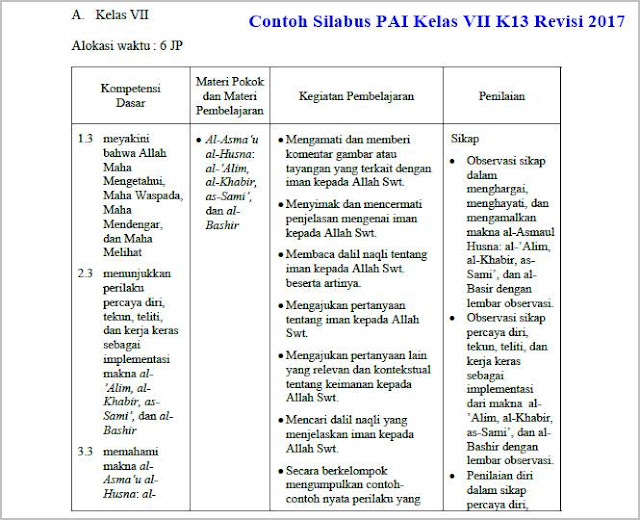 contoh silabus pai kelas vii k13 revisi 2017