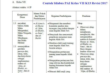 Contoh Silabus Pelajaran PAI & Budi Pekerti Kelas VII K13 Revisi 2017