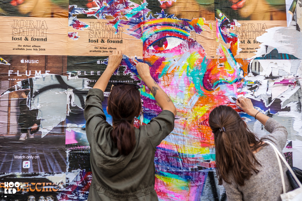 Street Artist Manyoly at work in London, UK. Photo ©Hookedblog / Mark Rigney