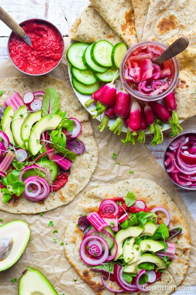 Herby Flatbreads with Pink Pickles. Need more recipes? Find 20 Quick Vegan Lunch Recipes Perfect for Easy Meal Prep vegan recipes lunch | vegan lunch healthy | vegan healthy lunch | lunch ideas vegan #veganlunchbox #veganlunchideas #veganlunches #vegan