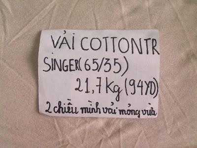 vải cotton TR singer(65/35) 21,7Kg(94yd). Mình vải mỏng vừa