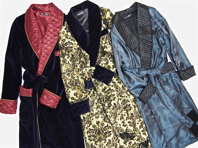Mens velvet dressing gown paisley silk smoking robe quilted housecoat