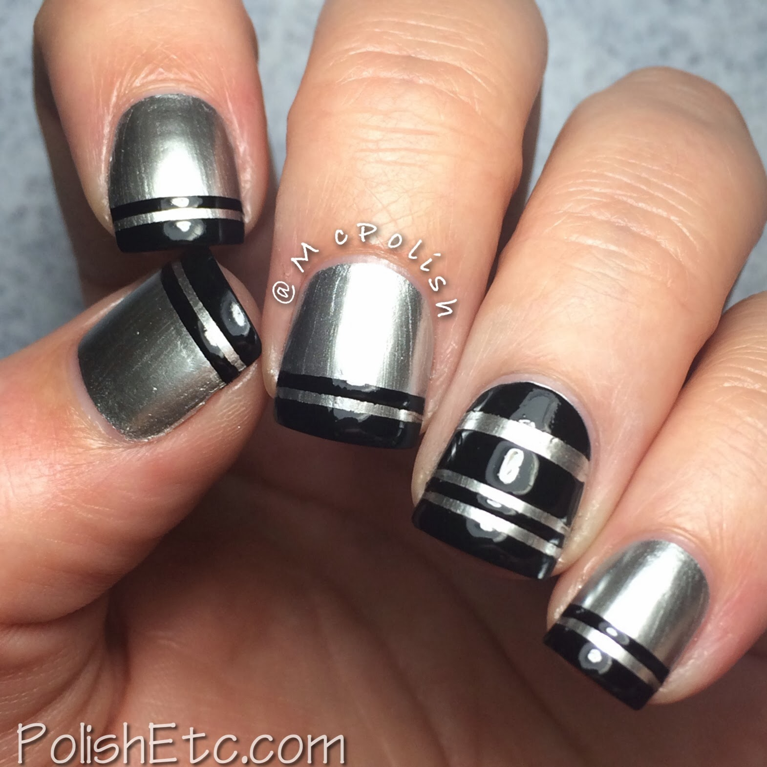OPI Push and Shove striped mani