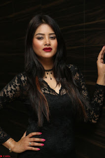 Actress Monica in spicy transparent Black Top at O Pilla Nee Valla Movie Audio Launch Feb 2017 048.JPG