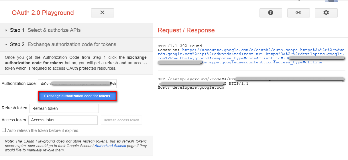 Getting OAuth 2 0 Access Token for Google AdWords API access