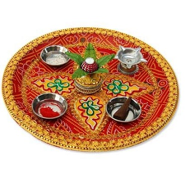 Diwali puja thali diwali pooja thali decoration ideas for Aarti thali decoration with pulses