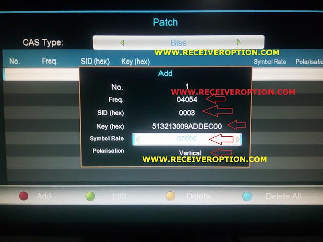 E-SAT 2000 HYPER HD RECEIVER BISS KEY OPTION