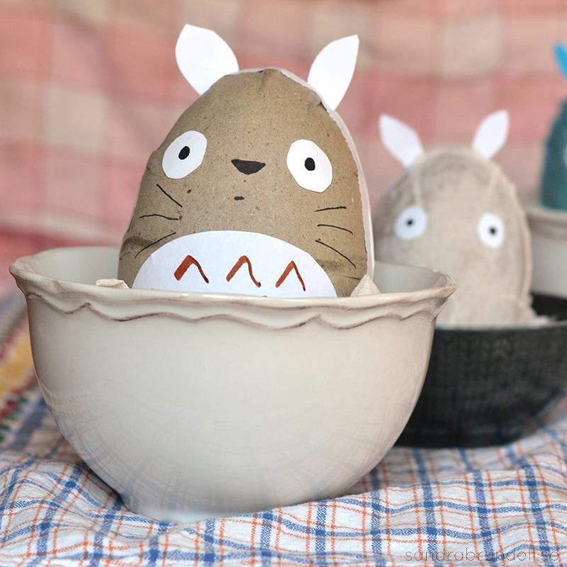 Påskägg inspirerade av Totoro.
