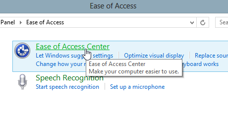 Ease of Access Center