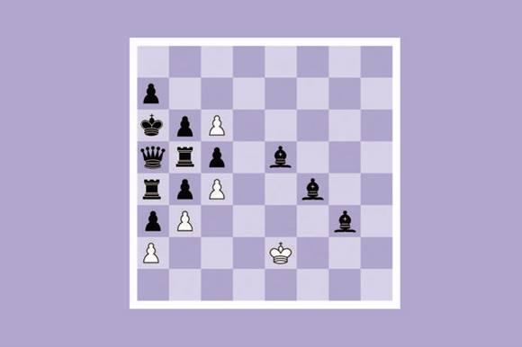 O lado branco só conta com o rei e mais quatro peões, tão encurralados pelas peças adversárias que a inteligência artificial decreta fim de jogo