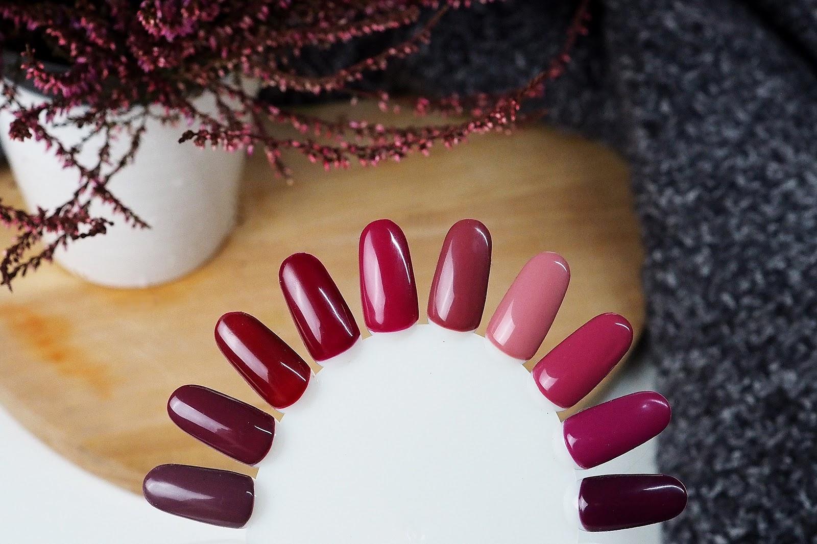 Kolor burgund paznokcie