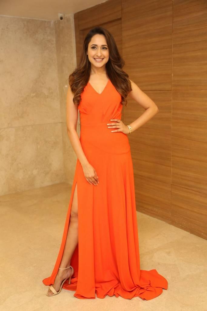 Pragya Jaiswal In Orange Dress At Achari America Yatra Pre Release Event
