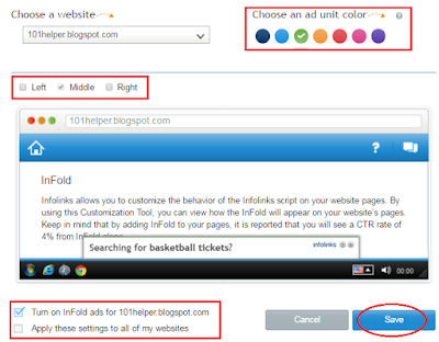 how to customize ads in infolinks infold