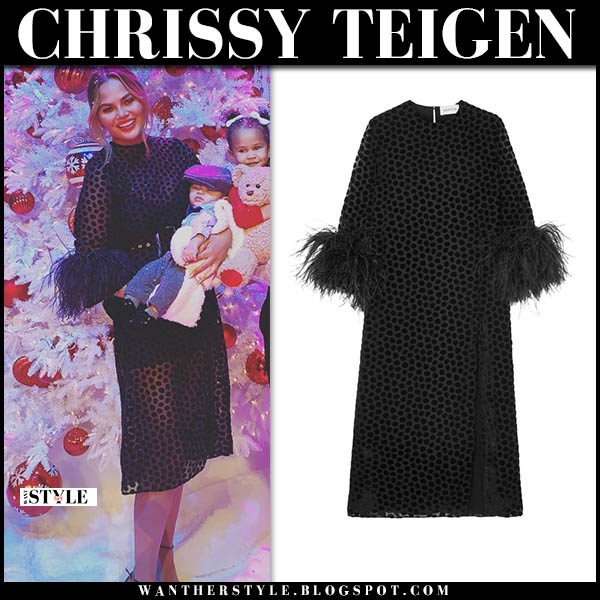 Chrissy Teigen in sheer black polka dot feather trimmed 16arlington midi dress legendary christmas special 2018 fashion