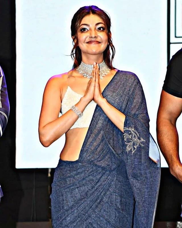 kajal aggarwal in sleeveless silver satin blouse and saree at Sita prerelease event | tollywood actress hot