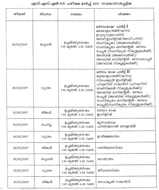 Kerala SSLC Time Table 2017 Download