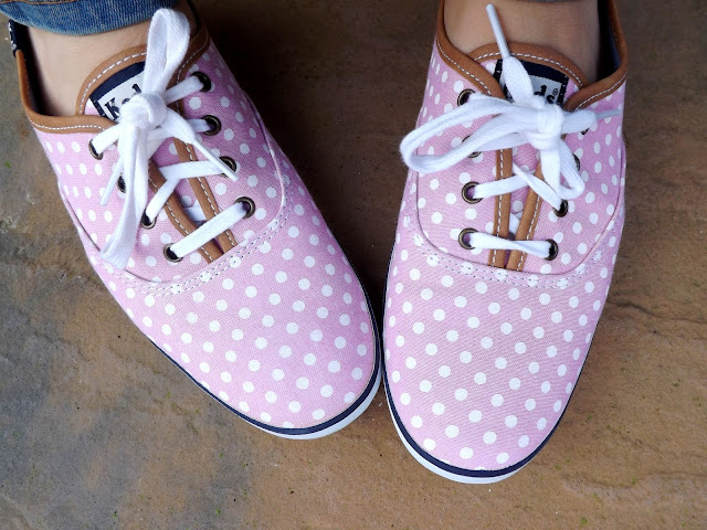 Close up of pink trainers