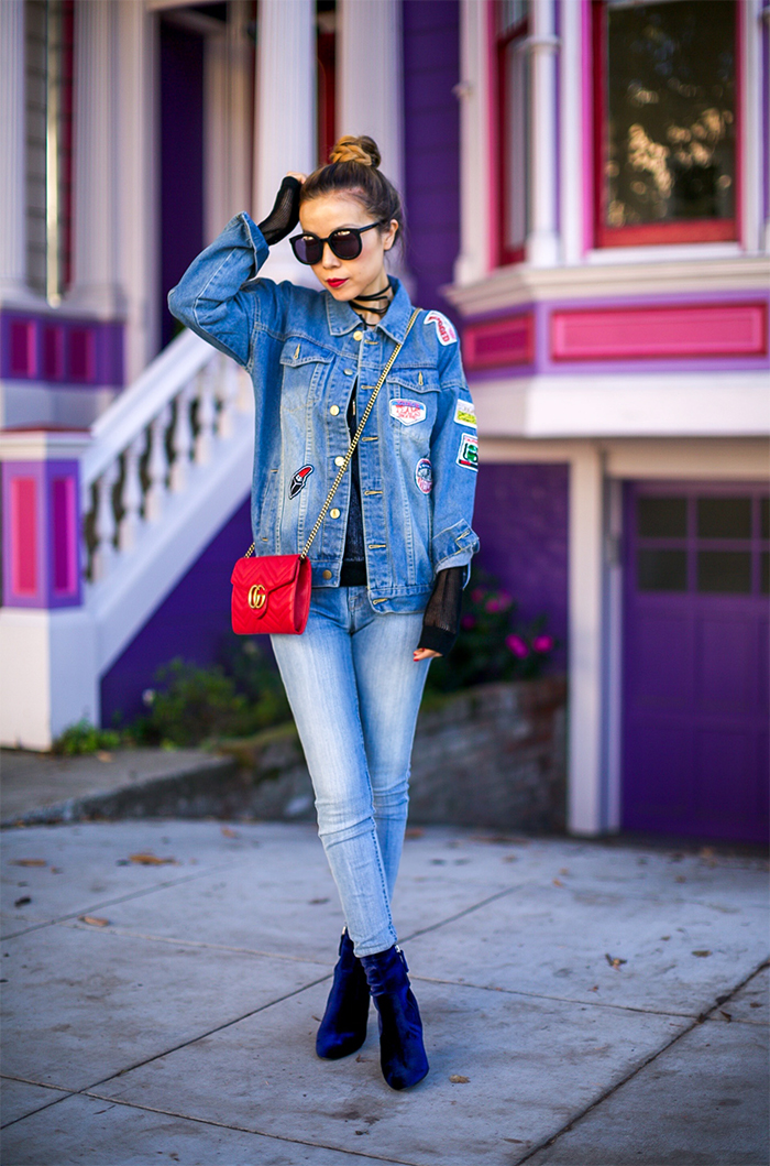 patched denim jacket, denim on denim, double denim, 7fam skinny jeans, gucci marmont bag, steve madden boots, karen walker sunglasses, baublebar earrings, san francisco street style, san francisco fashion blog