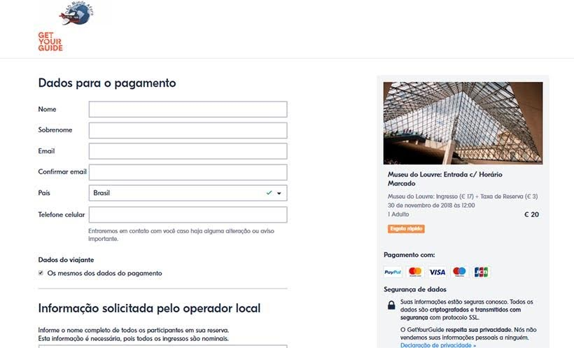 Get Your Guide - Ingressos online: passeio, transfer e tour
