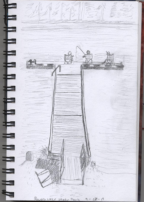 Idaho beautys creative journey september 2017 picnic shelters and sketched in pencil one of two docks where people were enjoying a little fishing while soaking up the sun what a lovely afternoon freerunsca Gallery