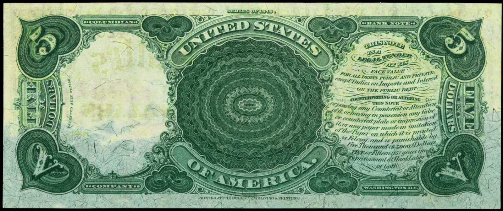 1878 5 Dollar Legal Tender Note