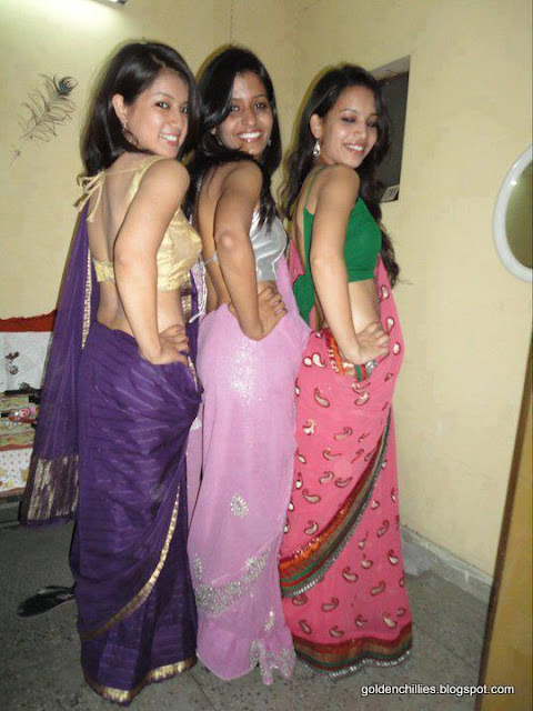 Spicy College Girls Saree Show In College Function -4074