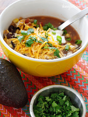 CrockPot Chicken Enchilada Soup Recipe from Skinnytaste featured on SlowCookerFromScratch.com