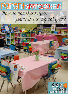 Great ideas to make your students' parents feel appreciated.  We love this day more than most, because it's a time to show our love to our parents.  The kids are so proud of all the items they've created.  It's truly a wonderful way to say, THANK YOU!!