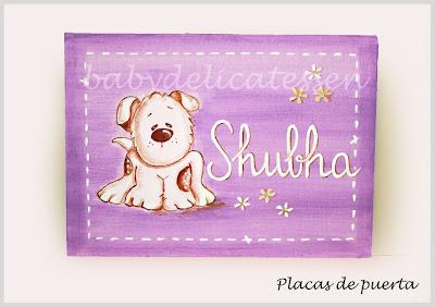 placa de puerta infantil perrito nombre Shubha babydelicatessen