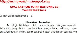 soal ujian nasional sd 2016