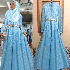 25 Model Baju Muslim Gamis Brokat Untuk Pesta Elegan 2018