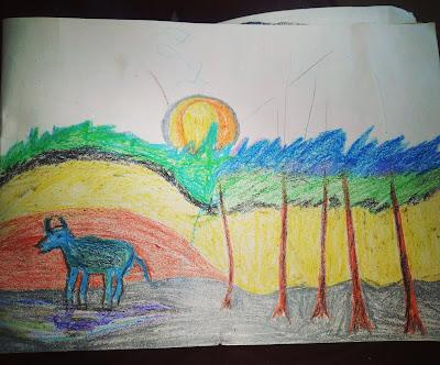 Natural landscape drawing
