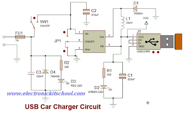 wiring diagram simple usb car charger using lm2596 ic. Black Bedroom Furniture Sets. Home Design Ideas