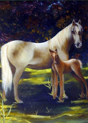 ~ Baby Colt ~   Oil on Masonite 30 x 42, 1982.  Private Collection of Shandy-Lynn Briggs  Oshawa Ontario. Timeless Expression by Maguire