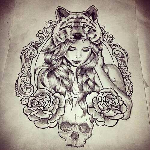 Tattoo Woman Flower Head: PARA AMANTES DA ARTE DA TATUAGEM: LOBO