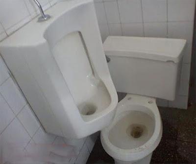 Urinoir et wc, dégaement un peu limite !