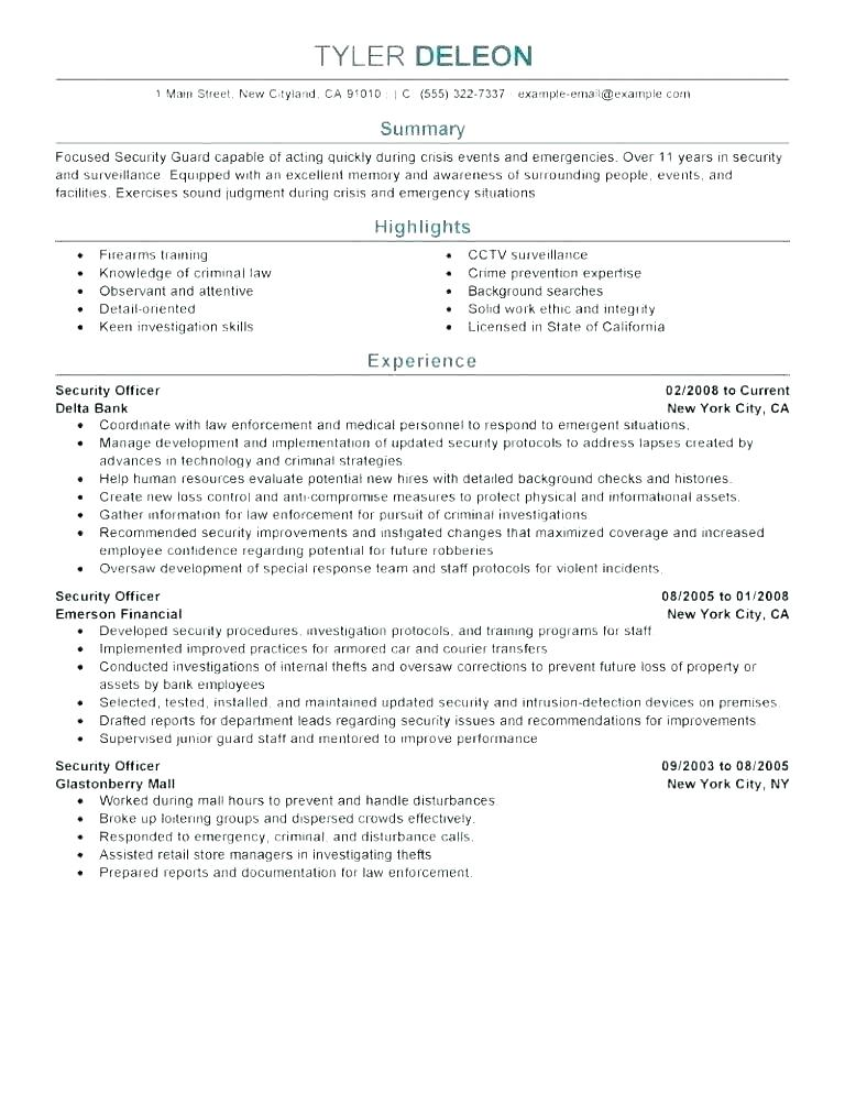 Security Guard Resume Example Objective Examples Template Fluency In