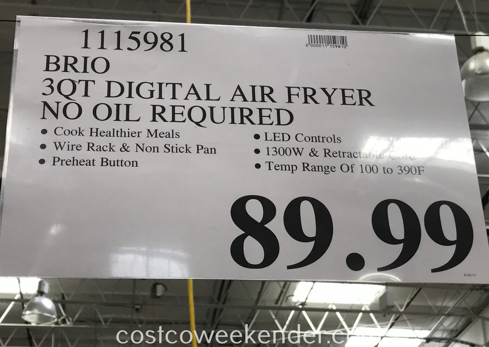 Deal for the Nuwave Brio Digital Air Fryer at Costco