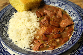 Southern red beans and rice made with a ham bone in the Instant Pot Electronic Pressure Cooker