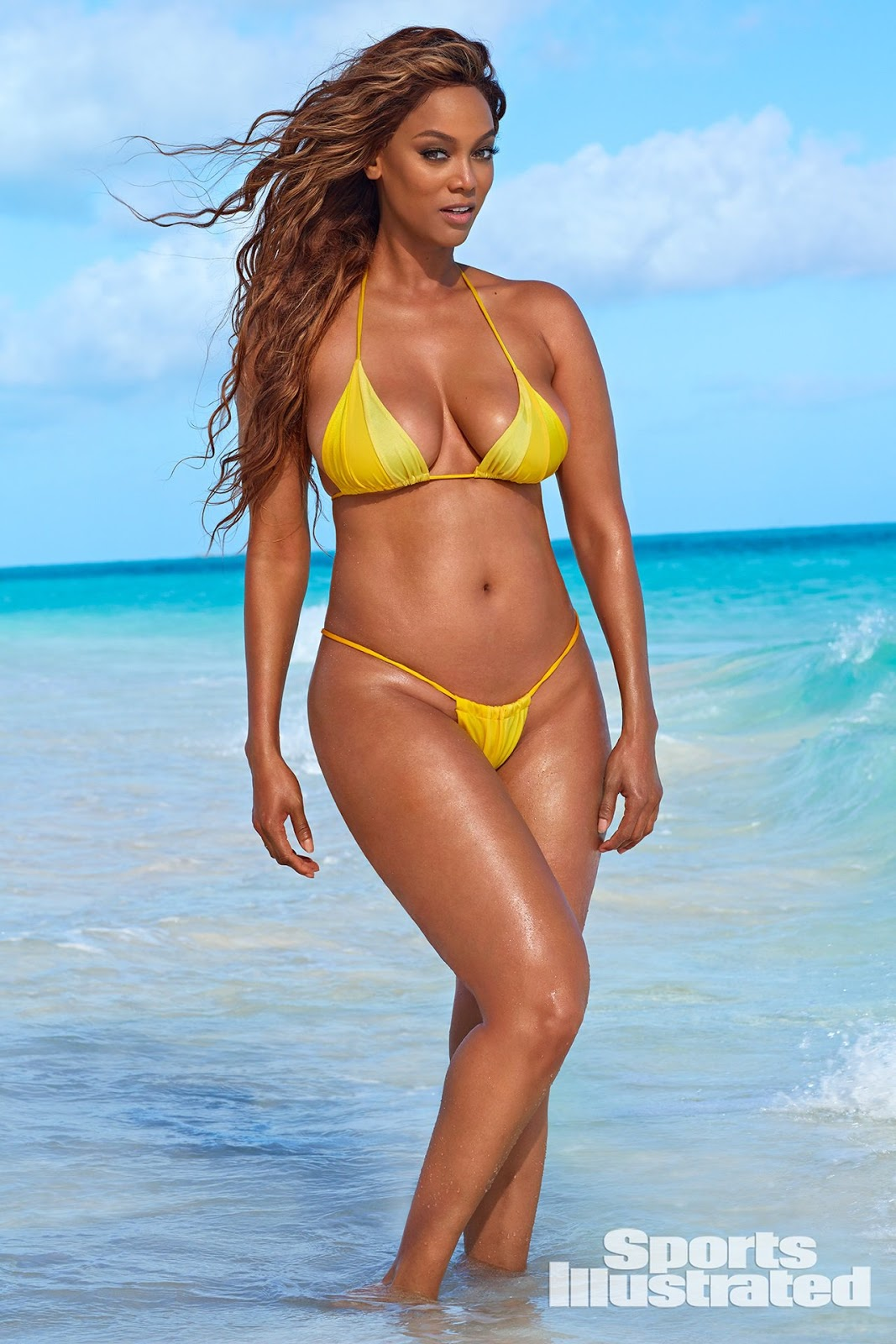 30b3db312d6d4 Tyra Banks was photographed by Laretta Houston in Great Exuma, Bahamas.  Swimsuit by Andi Bagus.