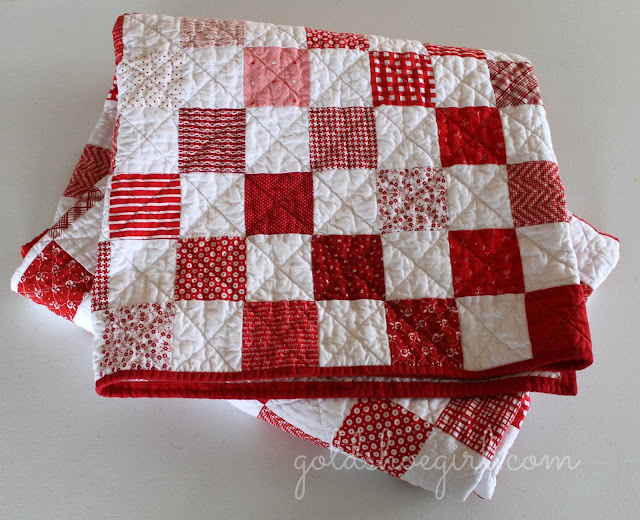 Gold Shoe Girl Red Amp White Patchwork Quilt
